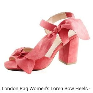 6e46f70d804 London Rag Shoes -   London Rag Soft Coral Loren Chunky Heels w  Bow
